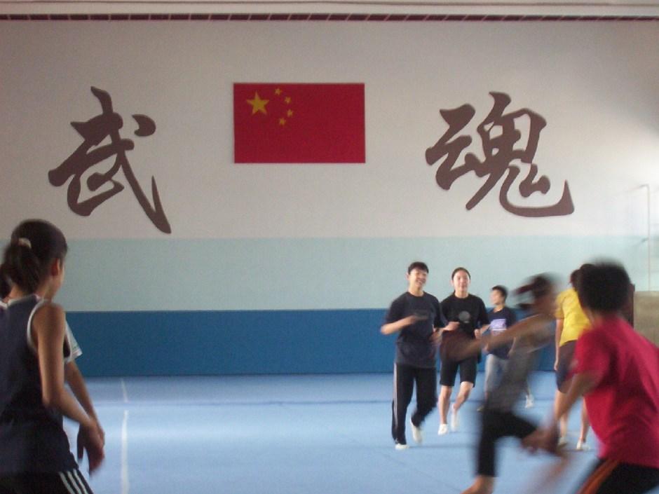 活动 – riscaldamento della nazionale giovanile di Taolu a 什刹海,北京,Agosto 2005