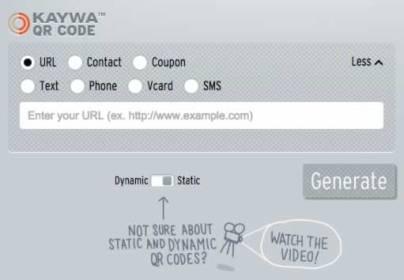 A screenshot of the Kaywa static QR code generator.