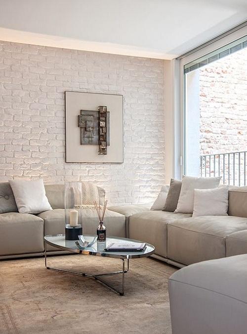 (soggiorno con dettaglio della parete/camino in pietra). Pareti Interne In Pietra 14 Idee Spettacolari Per Rendere Piu Bella La Casa Xlab Design