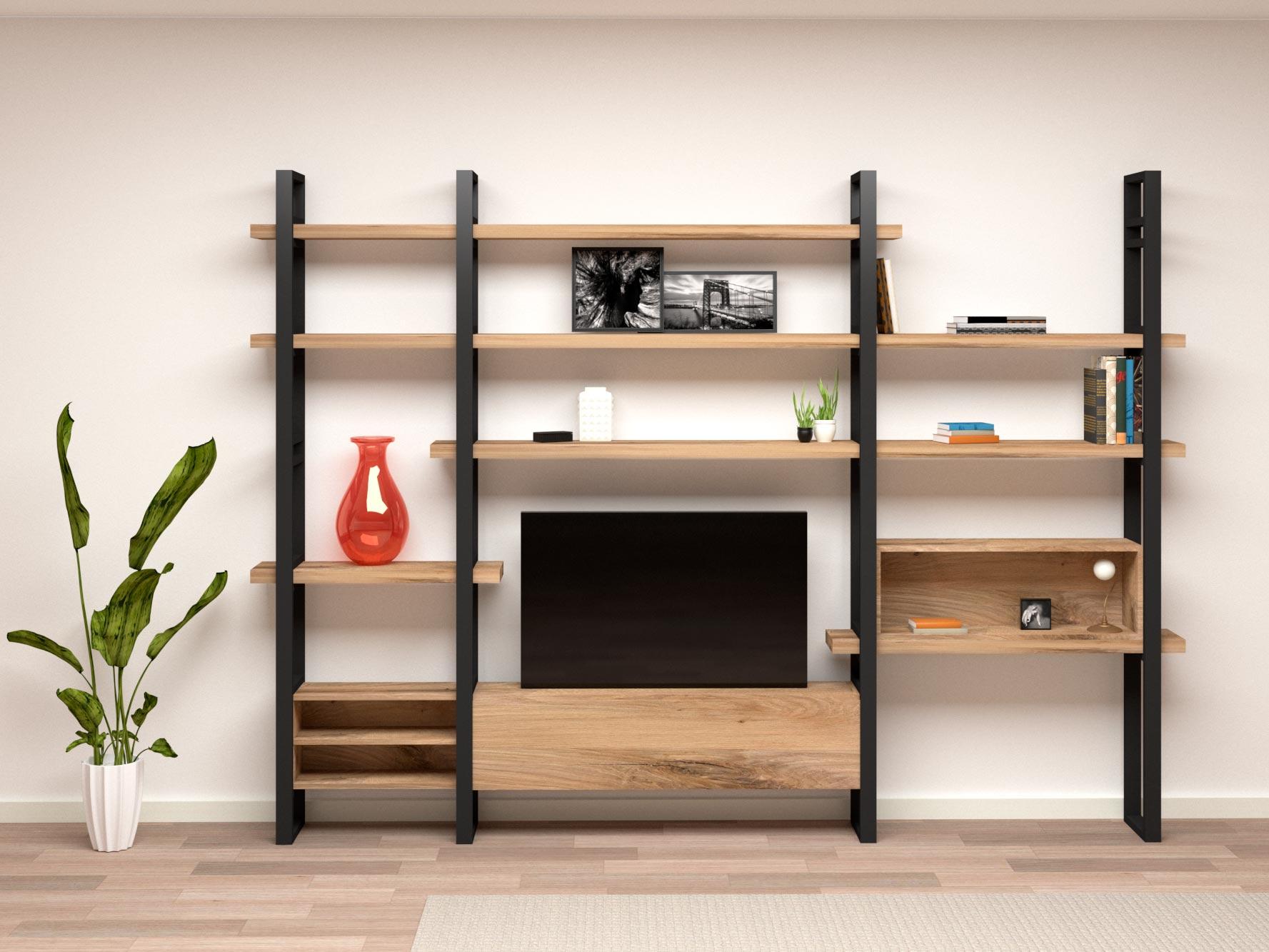 Scopri il nostro catalogo di librerie moderne, librerie design e librerie componibili. Libreria Porta Tv E Scrivania Con Mensola Ribaltabile Neruda Xlab Design