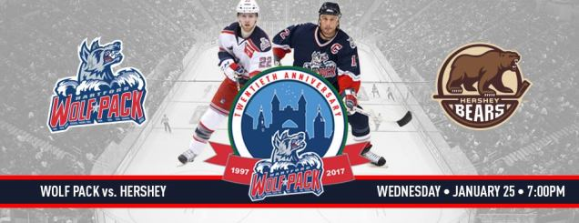 Image result for Hartford Wolf Pack vs. Hershey Bears Jan 25