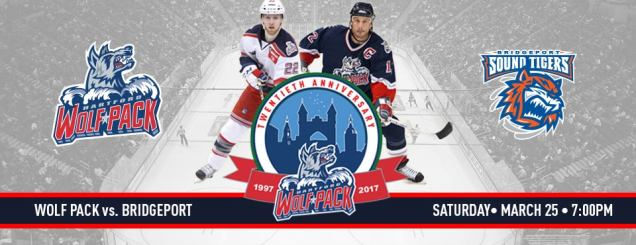 Image result for Hartford Wolf Pack vs. Bridgeport Sound Tigers march 25