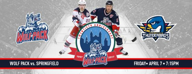 Image result for Hartford Wolf Pack vs. Springfield Thunderbirds April 7