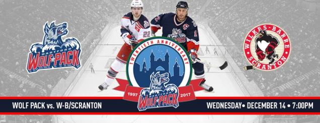 Image result for Hartford Wolf Pack vs. Wilkes Barre Scranton Penguins December 14