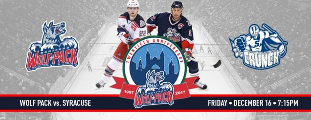 Image result for december 16 Hartford Wolf Pack vs. Syracuse Crunch
