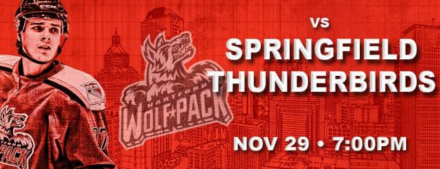Image result for HARTFORD WOLF PACK VS. SPRINGFIELD THUNDERBIRDS Nov 29