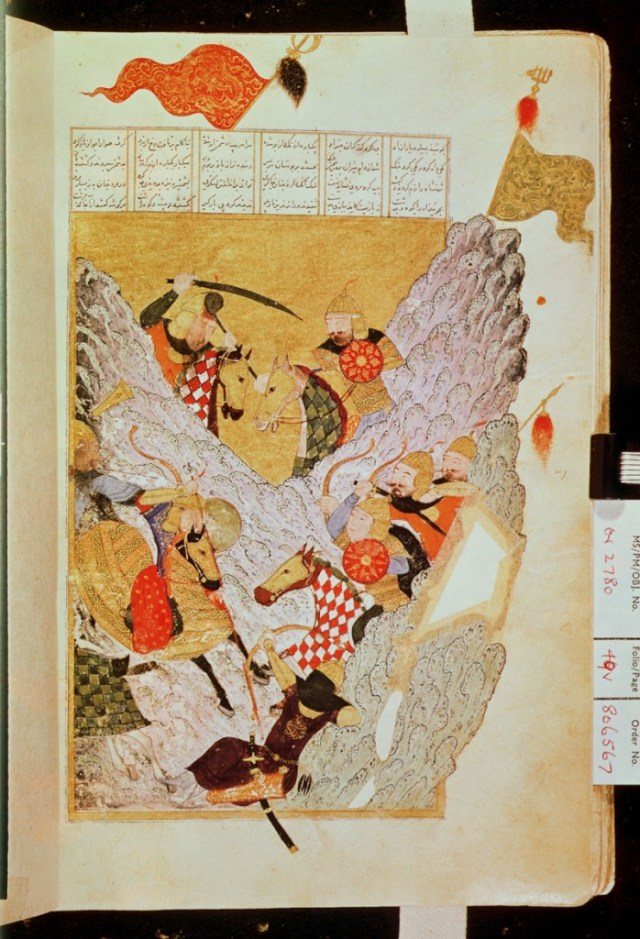 Genghis Khan luchando TPG182357 Or.2780 fol.49 v. Genghis Khan (1206-27) Fighting a Battle in a Mountain Pass (ink on vellum) by Chinese School British Museum, London, UK/Bridgeman Art Library TPG182357