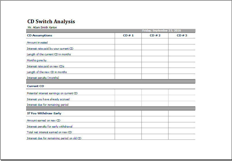 Printable CD Switch Analysis Template MS Excel Excel Templates