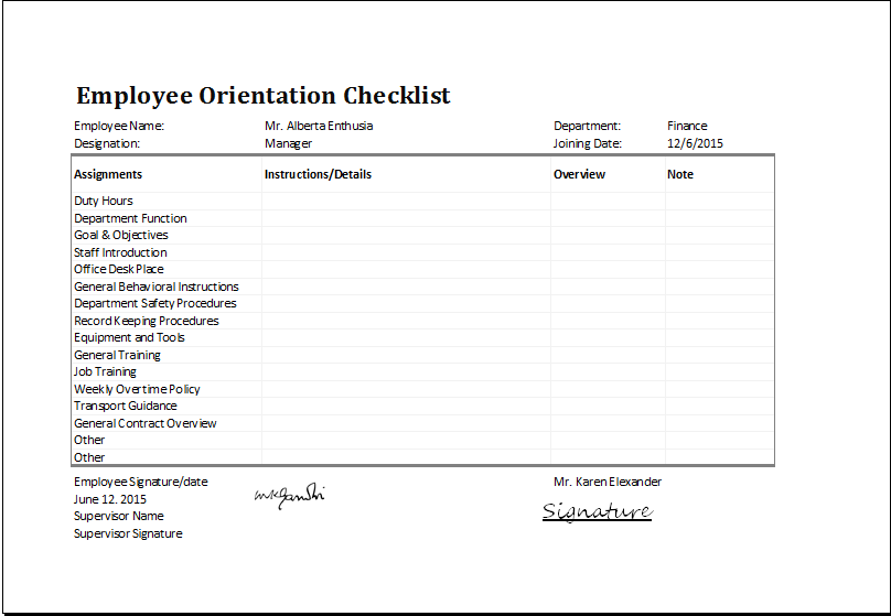 MS Excel Employee Orientation Checklist Editable Template Excel Templates