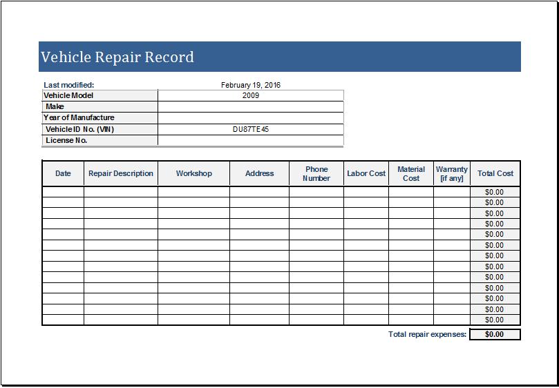 Blank Vehicle Inventory Sheet