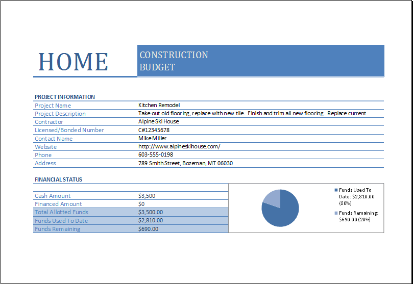 Home Construction Budget Worksheet For Excel Excel Templates
