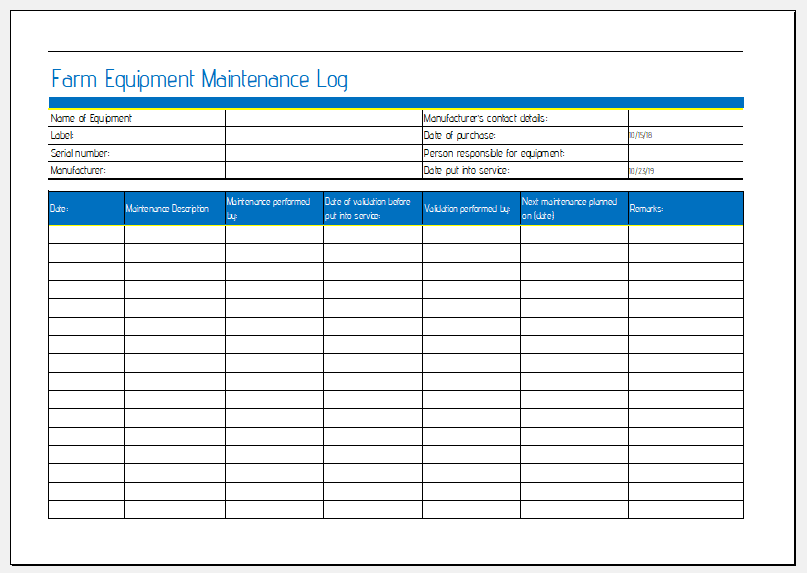 Thus, we suggest you use our professional log templates to create such important documents to ensure the safety of your workers, and to maintain the health of your important equipment as well. Farm Equipment Maintenance Sheet For Ms Excel Excel Templates