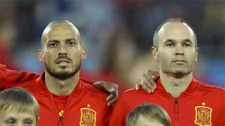 David Silva Andres Iniesta Spania Russland VM 2018