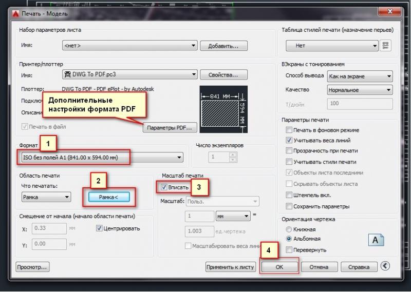 DWG ke tetapan pencetak PDF di AutoCada