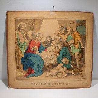 Antik tysk planche med motiv fra julenat