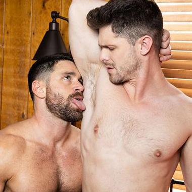 ゲイ動画 髭熊野郎 Beau Butler がアナル受け達人 Devin Franco のテクニックに、アナルが激感