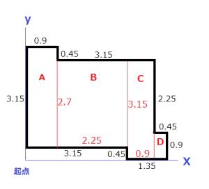 張りのある建物の中心の求め方2