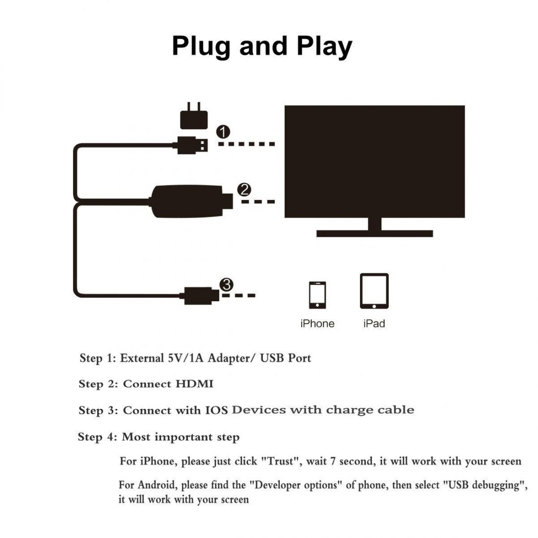 Lightning Vers Hdmi 2 M P Hdtv Cable Plug And Play Pas