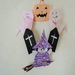 手作りした折り紙でハロウィンリースを飾り付ける作り方