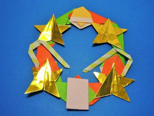 折り紙で簡単リースを手作りする折り方|星・ベル・ロウソクなど飾り付け方