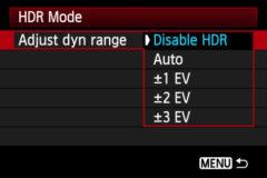 HDR menu - Canon