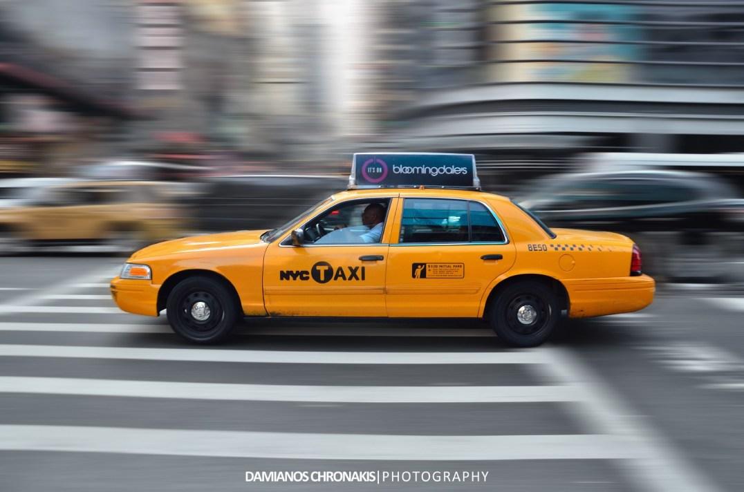 panning di un taxi