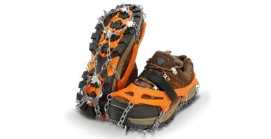 IPSXP Crampones, 19 Dientes Tacos de tracción Nieve y Hielo Tracción para Invierno Deportes Montañismo Escalada
