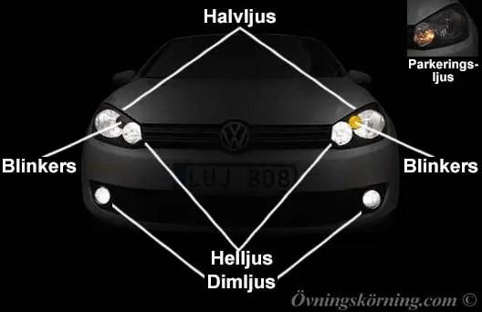 får du köra med enbart parkeringsljuset tänt?