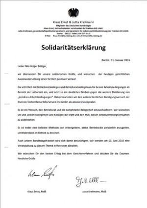 Solidaritätserklärung von Klaus Ernst und Jutta Krellmann