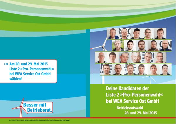 WEA Service Ost Kandidatenfaltblatt