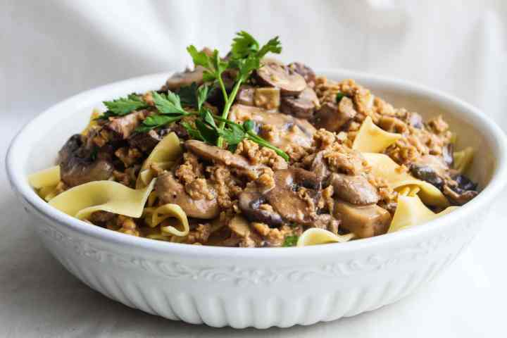 vegetarian stroganoff in a white bowl