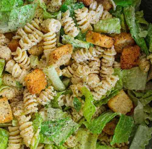 homemade pasta salad with croutons and this dressing