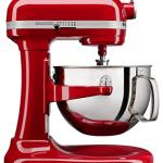 bright red kitchen aid stand mixer