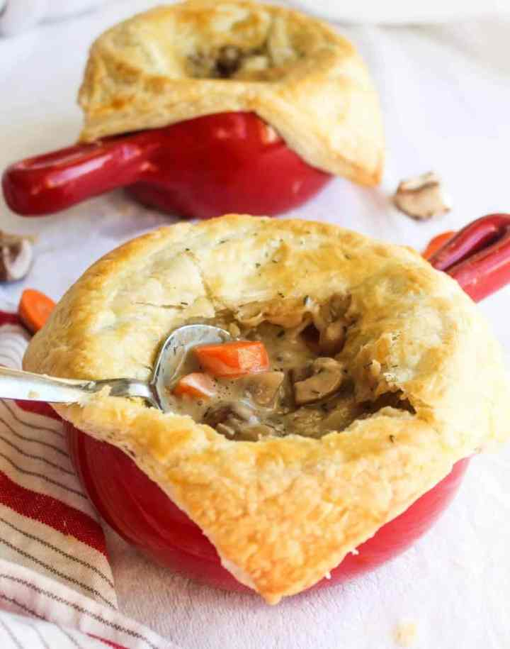 vegetarian pot pies in red dishes
