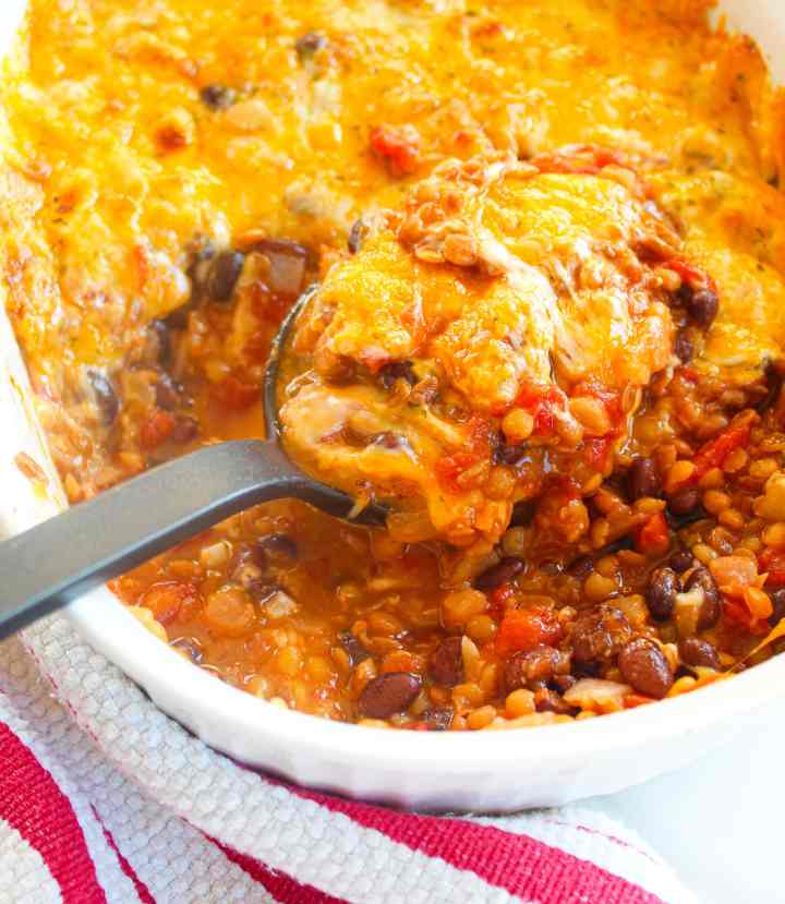 vegetarian casserole with lentils and beans