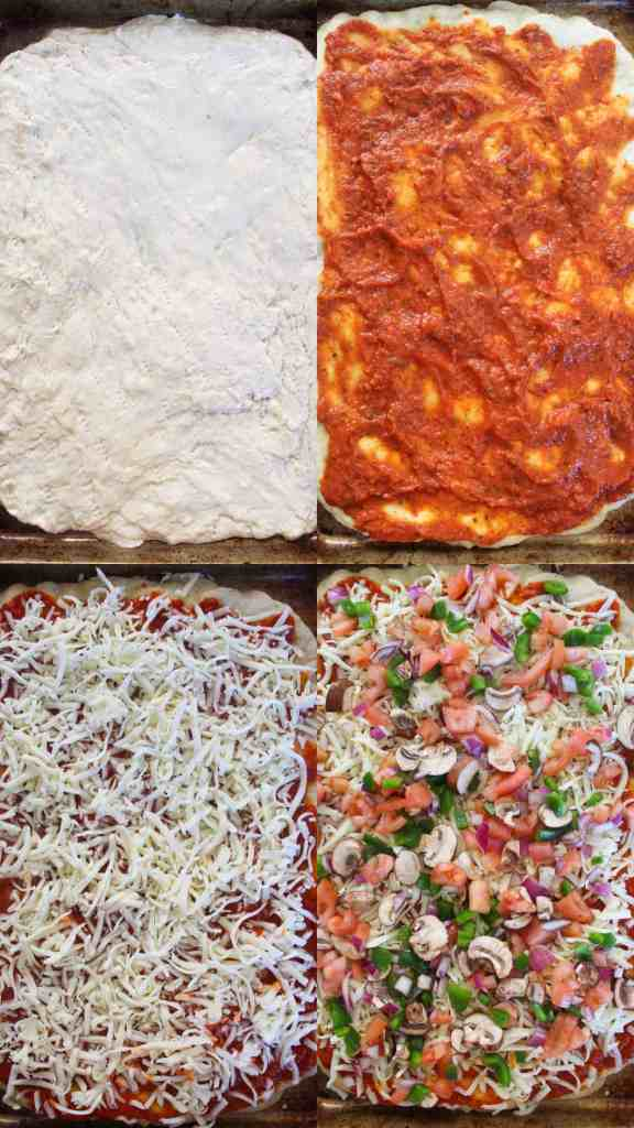 step by step veggie pizza on a sheet pan instructions
