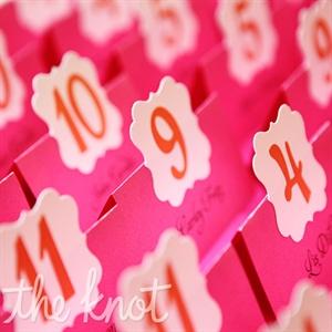 Pink-and-Orange Escort Cards
