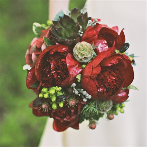 Wedding Flowers, succulents, deep reds, fall weddings