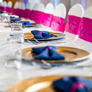 Pink and Blue Reception Table Decor