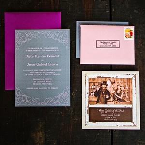Elegant Purple and Gray Invitations