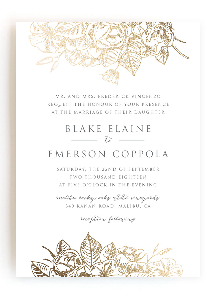 Wedding Invitations From Minted Vines Of Green Gilded Wildflowers