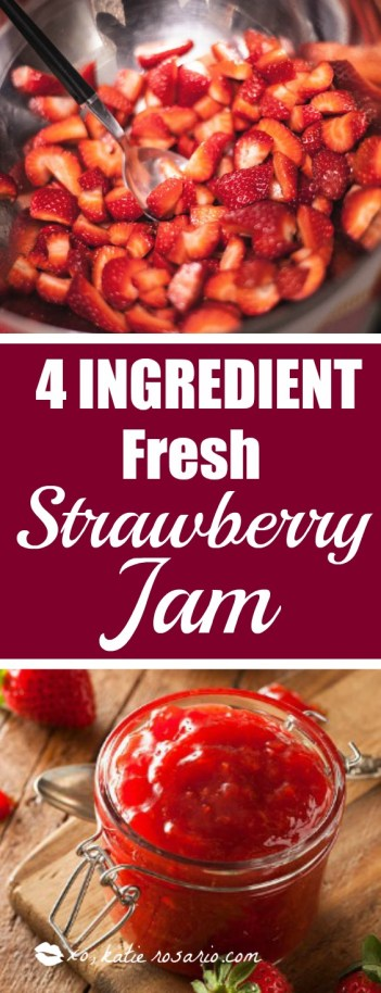 quick and simple 15 minute strawberry jam that is homemade. a recipe with no pectin