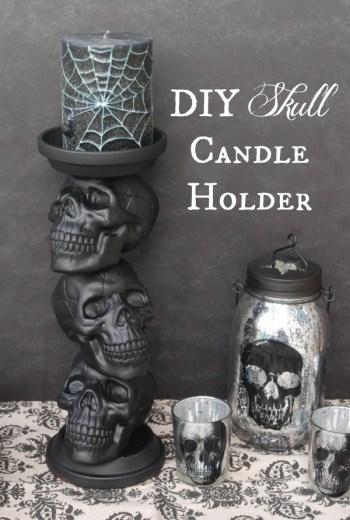 diy decor for halloween skull candle holder