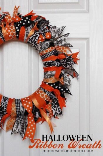 diy decor for halloween ribbon wreath