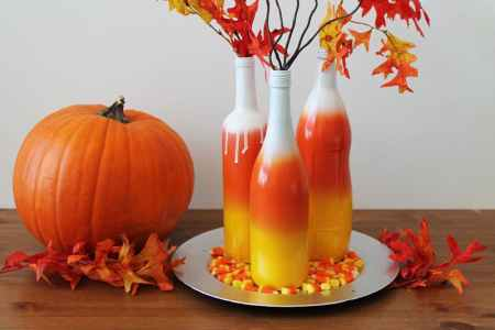 diy decor for halloween ombre candy corn wine bottles