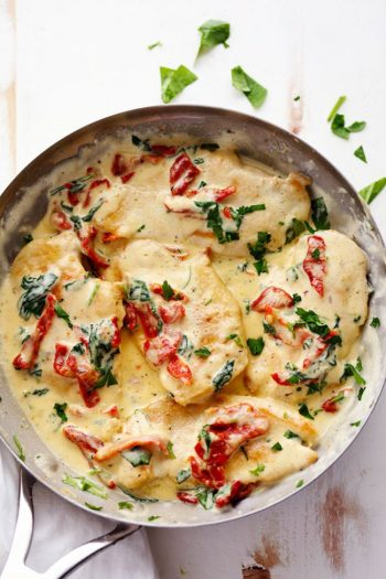 ketogenic creamy tuscan garlic chicken dinner healthy weightloss. 10 Ketogenic Meals That Help You Lose Weight: OMG! I just found this out and I have to share it! Have you ever heard of a high fat, high protein and low carb diet? Did you know that such a lifestyle exists? The answer is yes! This diet is called Ketogenic Diet. This keto diet sounds crazy but totally works if you stick to eat! And what's even better you can eat bacon and lose weight! So cool! Pinning for later!