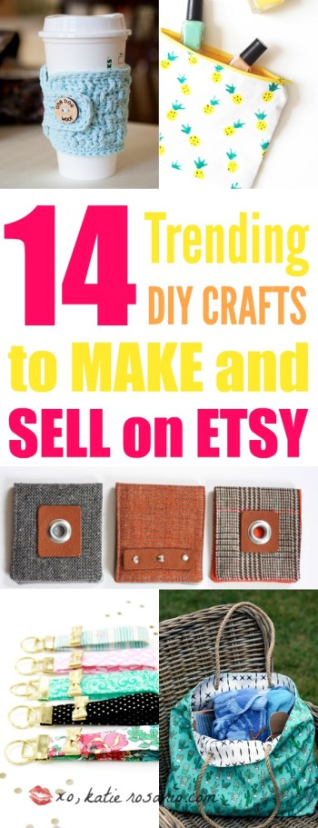 14 DIY Crafts to Make and Sell on Etsy: I always need extra money! Making trending crafts to sell online is just genius! I love that Etsy is for us crafty people to make some extra money through DIY projects. For others like me us crafty people will love this post! For sure pinning for later! Maybe one day I'll start my own side hustle business!