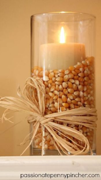 Popcorn kernels candle holder. 14 diy fall decorations that are easy to make