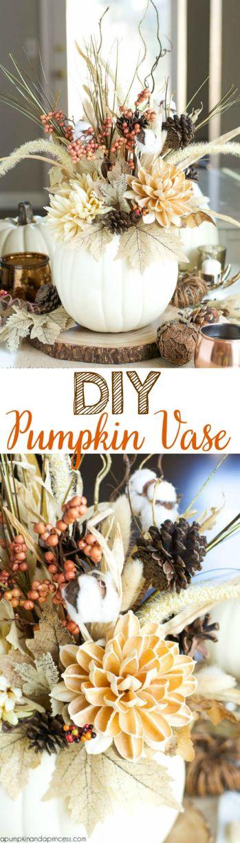 DIY pumpkin vase for fall diy home decorations