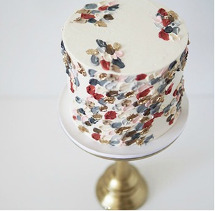 Brushstroke Wedding Cakes 1 Red Blue Gold Xo Katie Rosario